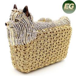 Ручная работа женщин дамской сумочке собака Crystal камня муфт вечер Эмейл получают мешки724