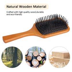 Großer quadratischer kosmetischer Großhandelsplastik/hölzerner Bambuspaddel-Pinsel, Massage-Stiftpinsel, Detangling Pinsel, Berufssalon-natürlicher Haar-Pinsel