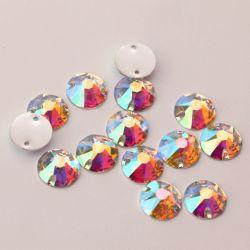 10mm Rivoli 2 het Kristal van Gaten Ab naaien op de Steen van de Hars, Epoxy Materiële Steen