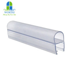 Plástico de PVC PE claro ducha redonda de caucho de silicona resistente al agua de la junta inferior de la puerta de cristal de cuarto de baño Tira de sellado de la puerta lateral de la junta de puerta deslizante de 6mm 8mm 10mm de cristal 12mm
