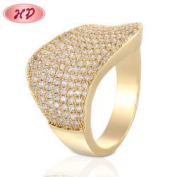 Goldfarben-Partei-Hochzeits-Band-Ring Holesale Form-Frauen-RingZircon CZ-Rose für Frauen-Schmucksachen