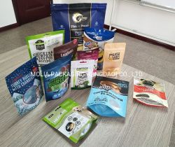 Levántate bolsas de alimentos, el cierre de cremallera stand-up de sellado de bolsas reutilizables de alimentos Snack bolsa de embalaje con Lágrima muesca Tapables calor cookie para almacenar el té de Snack y bebida