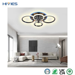 Hivies サーフェスマウントアルミニウムガラス 360 ラウンドランプ( RGB ) ホームオフィス用 CCT ムードバックライト LED シーリングライト