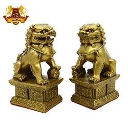 Медные латунные китайских народных ремесел Fengshui Фу Фу собака Guardion двери лев статуя скульптура