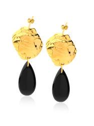 Prachtige polijstwerking Black Agate Design oorbellen