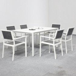 Bastidor de aluminio exterior mesas y sillas de madera de plástico juego de comedor