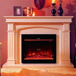 白い大理石の屋内の花こう岩の暖炉