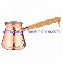Altmodischer türkischer kupferner Kaffee-Potenziometer mit hölzernem Griff-Edelstahl-Milch-Kaffee-Wärmer