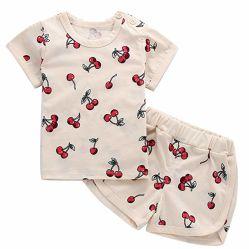 Bébé fille Bébé garçon Vêtements d'été mignon de l'Ananas Cherry Costume d'impression et de shorts de raccord en t de coton défini