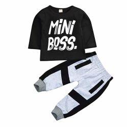 キッズベビー用衣類ミニボスフィットセット長袖 T シャツ トップスパンツ子供用ウェア