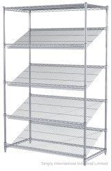 Nivel 5 gradilla de acero cromado buena muestra de unidad de venta de estanterías Cable inclinado