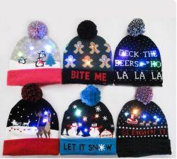 2019年のクリスマスの習慣のLEDによって編まれる帽子LEDの帽子の帽子LEDの冬の帽子