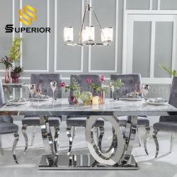 O luxo moderno da estrutura de aço inoxidável Prata mesa de jantar em mármore para Home Restaurante conjunto de móveis