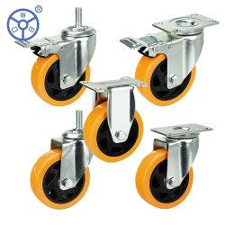 3 4 5 6 pulgadas de prestaciones medias Iindustrial Ruedas giratorias de PVC de color naranja/PU girando la rueda giratoria para el carro