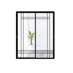 알루미늄 단면도 검정 색깔 프레임 분말에 의하여 입히는 미닫이 문, 안전 유리 문