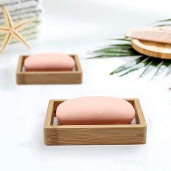 El cuarto de baño decoración de madera cuadrada sólida bien hechas de bambú natural Jabonera