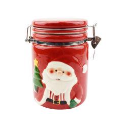 Fabrikanten van keramische Jar Kerst Kerst Kerst Keramiek luchtdicht Jars hand Painting Kerstman Jar