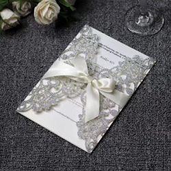 Cintilantes papel cartão de saudação Luxury Convite de casamento com interior em branco