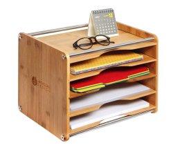 5 Bureau de Tier de bambou de Messagerie de bureau de l'Organiseur de fichier Document Lettre trieur bac à papier A4 Support du Cabinet de la boîte de rangement en acier inoxydable (14 x 10,6 x 10,9)