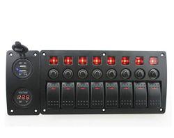 Piste bateau marin étanche 6 interrupteur à bascule avec disjoncteur de surcharge du panneau de protection et de l'indicateur de culbuteur pour LED 12V-24V Véhicules voiture RV Sentier du chariot