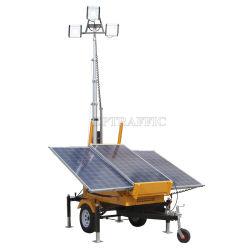 Fournisseur 193101K de la Chine la construction de routes mât télescopique batterie solaire 24V DC tour lumière LED Remorque mobile