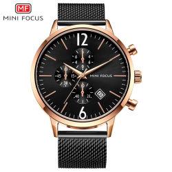 Mini-l'accent cadran noir hommes montre-bracelet quartz pour les entreprises