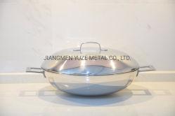 Vendite di spazio! Wok dell'acciaio inossidabile, Wok cinese con il coperchio, utensili della cucina, elettrodomestico