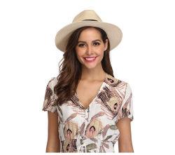 Quantidade de alta qualidade mulheres ampla palha a bordo rasante Panamá arregaçar Hat Fedora Beach Chapéu Upf50+