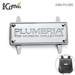 Design Saco Personalizado acessórios da marca de metal de etiquetas do logotipo OEM, Forma Retangular logotipo estampado da chapa de metal para as bolsas
