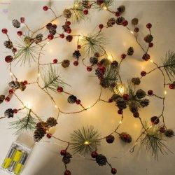 クリスマスストリングライト、電池式Pineconeの豆電球の銅線