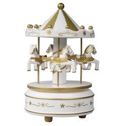 Venda por grosso Xmas Carrossel Merry vá plástica redonda e romântica de Madeira 4 Decoração Cavalo carrossel giratório Caixa de música para o dom de férias