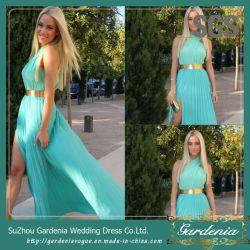 真新しい緑の分割された側面の女性の衣服SGSの金ベルトのプロムの服(GDNY235)