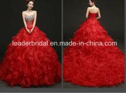 Kaskadierendes Brautabschlußball-Ballkleid-Aktien-rotes Kristall-Hochzeits-Kleid Wdo71