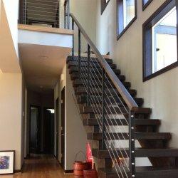 실내 옥외를 위한 나무로 되는 보행을%s 가진 간단한 스테인리스 케이블 방책 디자인