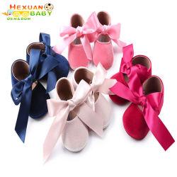 Wool Soft Bottom卸し売りかわいいデザイン幼児の赤ん坊の王女0-1歳のBowknotの子供の女の子の靴