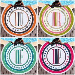 Lettre imprimée ronde Serviette de plage Chiffon microfibre Terry Plus Tassel Serviette de bain