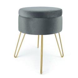 كرسيّ للقدمين المصنوع من النسيج المخملية الرمادي