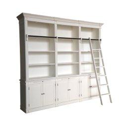 De houten Witte Franse Provinciale Boekenkast van de Stijl met Ladder