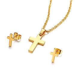 Joyas de la Cruz simple para espárrago Collar con Pendientes