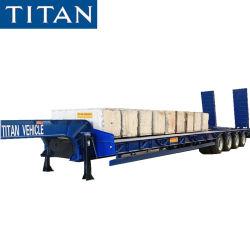タイタン3/4の車軸60/80/100トンの半頑丈な掘削機の輸送のGooseneckの売出価格のための低いベッドのローダーの低下のデッキのLowbedのトラックのトレーラー