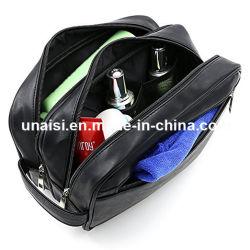 Saco unissexo couro preto Pack para produtos de toalete de Cosméticos Kit de Reposição
