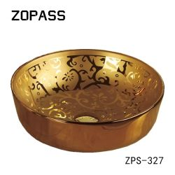 Lavabo sanitario di ceramica della mano dell'oro degli articoli del buon di vendita di arte controsoffitto del dispersore