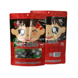 Customized Bolsa alimentar em pé Zipper Bolos doces embalagens de plástico Sacos com janela transparente