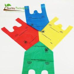 Camiseta Compras bolsas de plástico biodegradables envases de plástico de bolsa con su propio logotipo
