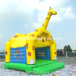 Bouncer di salto della Camera del castello di rimbalzo gonfiabile di stampa del fumetto della giraffa (JC-07)