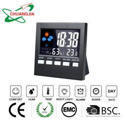 温度計の湿度計の表示が付いているデジタル多機能の多彩なLCD目覚し時計