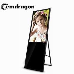 43인치 슬림 광고 디스플레이 바닥 스탠드 터치스크린 LCD 55 인치 토템 키오스크 디지털 사이니지 플레이어 휴대용 스크린