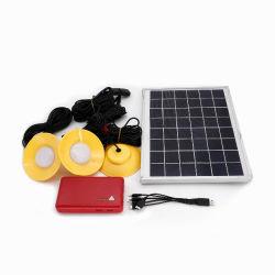 نظام إضاءة شمسية بقدرة 10 واط/12 فولت عالية السطوع/مجموعة إضاءة LED شمسية مع زر التوهج في الظلام