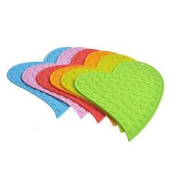 Hot Sale Coaster en silicone en forme de coeur pour cadeaux publicitaires (YB-N-007)