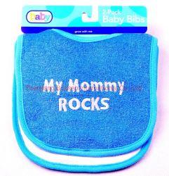 Diseño personalizado de OEM de algodón bordado azul Terry fábrica baberos para bebés
